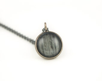 Gift for Her - Barnwood Necklace - Cyber Monday - Antiqued Silver Pendant on Oxidized 925 Sterling Silver Chain - Holiday Jewelry