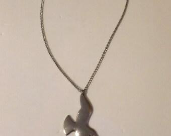 Retro 70's Silvertone Seagull Pendant