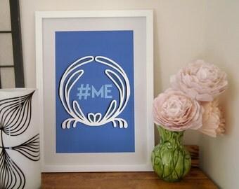 Hashtag Me paper art print, hashtag wall art,   floral quilled border, art nouveau motif, Social Media Tie-Ins, Paper art print