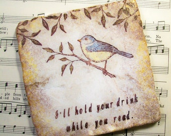 Bird Coasters Book Lovers' Gift, Set of 4, Reading Club, for Teachers, Parents, Grandparents, I'll Hold Your Drink While You Read