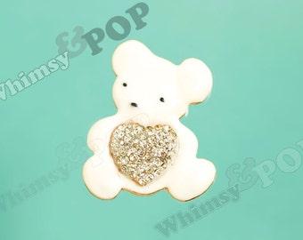 1 - Gold Tone White Teddy Bear Crystal DIY Flatback Phone Case Decoden Cabochon, Bear Cabochon, 44mm x 36mm (4-4C)