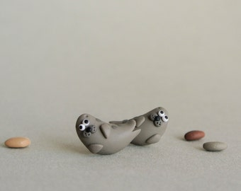 Seal post earrings - miniature handmade grey seal jewelry - sea mammals - cute animal jewelry - gift for women and girls - Scottish wildlife