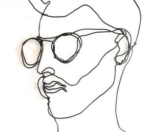 Glamour Face of man with beard and spectacles  -   Wire wall sculpture