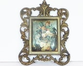 Square frame, Vintage Brass picture frame with a cushioned silk floral picture made in Italy, Ornate wall hanging, French country chic