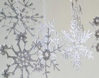 12 silver sparkling snowflakes, crochet snowflakes, lace crochet snowflakes, christmas decoration, crocheted snowflakes, shining snowflakes