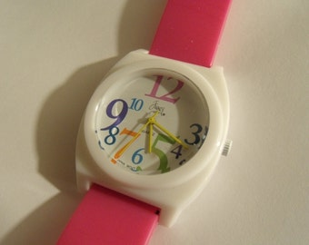 Ladies Watch Hot Pink Yellow White Oversize
