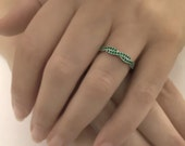 Twisted Wedding Ring Green Emerald Wedding Band Milgrain Antique Style Anniversary Ring White Gold 14k