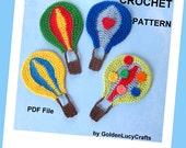 CROCHET PATTERN Hot Air Balloon Applique, Embellishment, Scrapbooking, PDF File