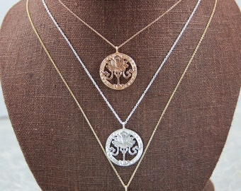 Recycled 14K Yellow Gold Circle Lotus Necklace