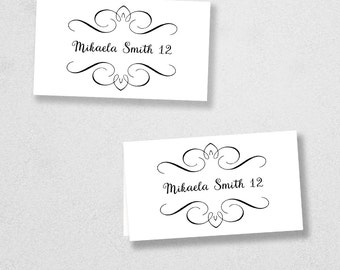 Printable Place Card Template - INSTANT DOWNLOAD - Escort Card - For Word and Pages - Mac and PC - Flat or Folded - Flourish