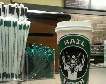 Hail Satan drink Coffee and Rock on! Sticker LARGE