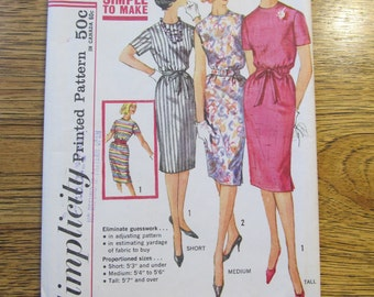 1960 Slender PROPORTIONED Sheath Dress in Short, Medium or Tall - Customized Height - Size 18 - VINTAGE Sewing Pattern Simplicity 3780