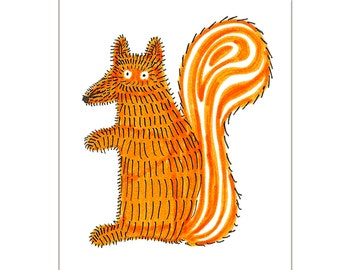 Ginger Squirrel (or Squirrox) - Art print of the original colourful drawing