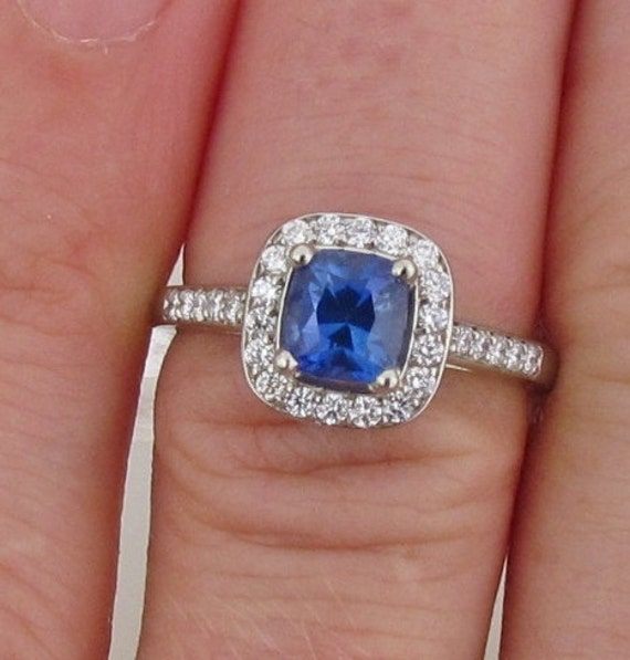 Reserved Final Payment on Custom Order for Square Cushion Kashmir Color Blue Sapphire 14k White Gold Diamond Halo Engagement Ring
