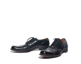 "9.5 AAA/A | 1940's Vintage Cap Toe Brogue Oxfords Black Dress Shoes ""The Edwin Clapp Shoe"""