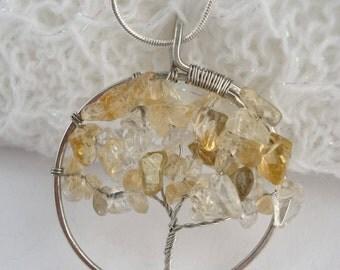 Citrine Tree of Life Pendant, Silver Wire Wrapped Tree Pendant, Yellow Tree of Life Necklace, Citrine Pendant
