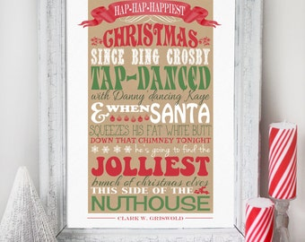Christmas Vacation Quote - INSTANT DOWNLOAD - Clark Griswold *CENSORED* Clean Version Quote - Red & Green Poster Print Decoration by Sassaby