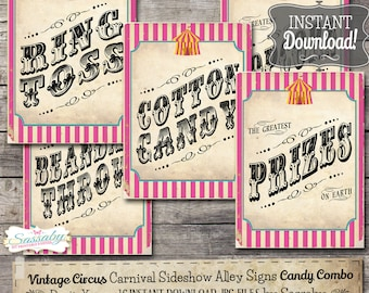 30 Vintage Circus Game/Carnival Signs Posters - Candy Combo - INSTANT DOWNLOAD - Printable Carnival Party Decorations by Sassaby Parties
