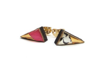 SALE Triangle wood and resin pink and gold stud earrings.  20% off with code VALENTINEBEAR16