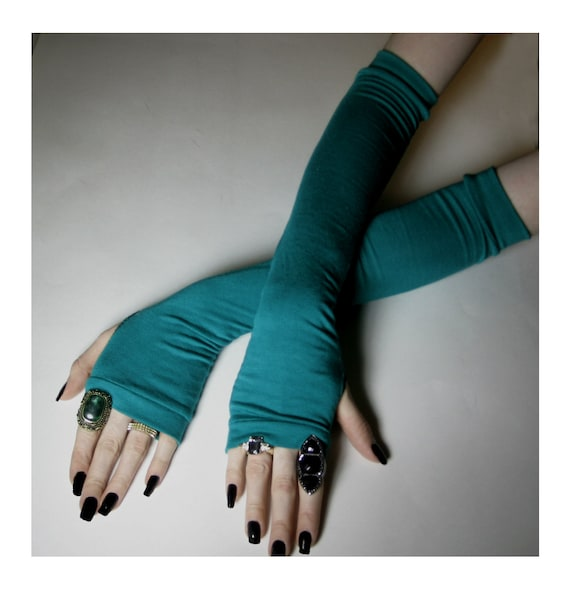 Arm Warmers Arm Warmer Fingerless gloves long sleeves - Strong As Teal - Blue green Cotton Gothic Belly Dancing goth kawaii steampunk fairy