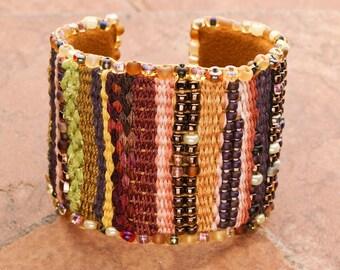 CUFF Bracelet: Fiber Art Woven Bracelet Striped Cuff Tapestry Cuff Gift for Her Valentine's Gift Boho Bracelet Teal Eve's