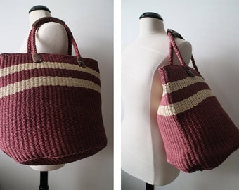 Vintage EXTRA LARGE Maroon Beach Tote Genuine Leather Handles Carryall Bag Beautiful Condition