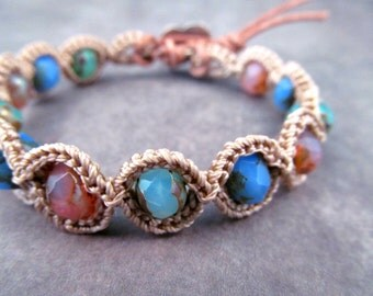 Shabby Romantic Crochet Bracelet - Pastel Colors Boho Chic