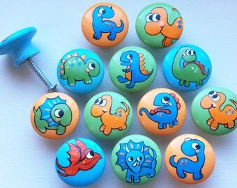 Dinosaur Drawer Pulls / Dresser Knobs / Closet Handles / Hand Painted for Boys, Girls, Kids and Nursery Rooms