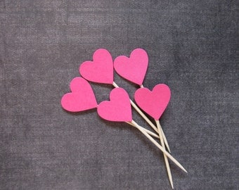 24 Fuchsia Pink Heart Cupcake Toppers, Party Decor, Weddings, Showers, Birthdays