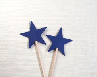 24 Navy Blue Star Cupcake Toppers, Party Decor, Double-Sided, 4th of July, Patriotic, Graduation, Weddings, Showers, Birthdays