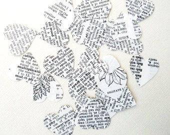 200 Dictionary Text Hearts, Handmade Die Cuts, Party Decor, Confetti, Weddings, Showers