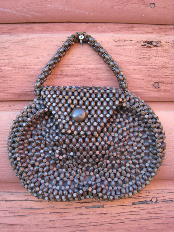 Vintage Brown Beaded Czech Purse in Very Good Condition