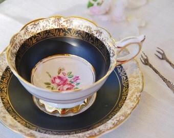 Stunning ROYAL STAFFORD Tea Cup and Saucer, Black, Pink Rose, Gilt,  England