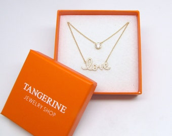 Valentine's Gift Set - Solitaire Diamond & Love Necklace Gift Set - Layering Necklace
