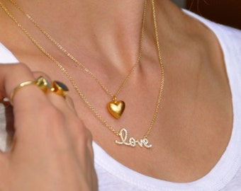 Puffed Heart Charm Necklace - Gold Heart Necklace - Silver Heart Necklace