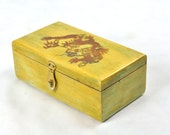 Vintage Mens Jewelry Box Vanity Tray Cedar Chinese Red Dragon Lane Organizer Unisex Painted Wooden Antique Oriental Asian Rustic Storage