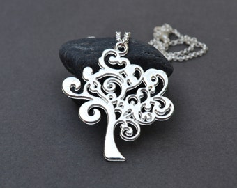 Christmas sale hostess gift Christmas gift for her Silver Tree Necklace Tree of Life Necklace Tree Jewelry Simple Everyday Silver Necklace