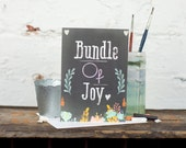 New Baby Card, Bundle Of Joy, Baby Boy, Baby Girl, New Baby, Chalkboard Card - Free Postage