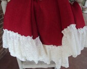 French Grain sack  Burlap Christmas Red burlap with Beautiful Flowing  Full Cream Lace ruffles