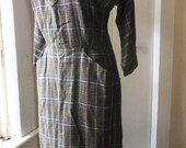 1950s 1960s Plaid Day Dress Wiggle Shirt Shift Dress Medium