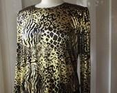1980s Gold Animal Print Blouse Metallic Long Sleeve Glam Rock Big Shoulder Shirt