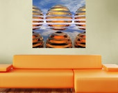 Sci-Fi Symmetrical Wall Sticker Decal Art – Split Spheres Day by Lyle Hatch