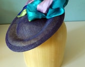 Royal Blue Sinamay Tilt Hat With Colorful Silk Scarf.  Headpiece, Fascinator, Saucer, Cocktail Hat, Racing Fashion, Kentucky Derby, Ascot