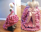 National Glitz Pageant Dress or flower girl dress, rose couture rhinestone high low design with train gown