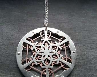 Ankh Lotus Mandala and Metatron's Cube Pendant - sterling silver and copper - Handcrafted Sacred Geometry Jewellery