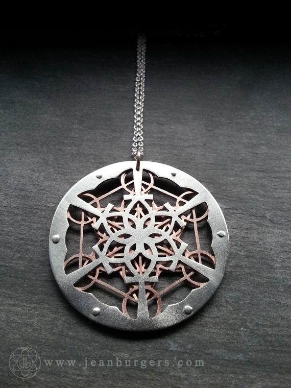 Ankh lotus mandala and metatron 39 s cube pendant sterling for Metatron s cube jewelry