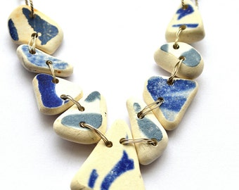 Greek beach Pottery Bib Necklace Blue and White