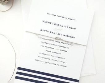PAPER SAMPLE Rachel Nautical Wedding Invitation / Nautical Save the Date / Striped Wedding Invitations / Navy Wedding Invitations