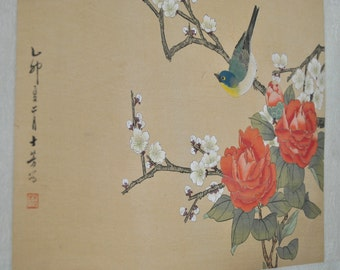 Chinese Painting Mid Century Asian Ink on Silk Tapestry Art Kakemono Flowers Birds Modern Wall Hanging