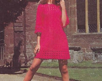 Boho Lacy Dress 1960s VINTAGE CROCHET PATTERN, Pink Party/Club Minidress, Mod/Retro/Hipster, Instant Download Pdf from GrannyTakesATrip 0250